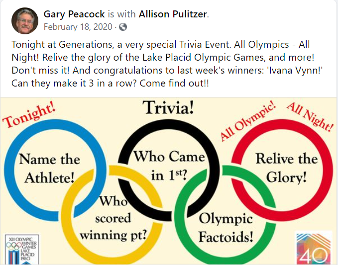 olympic marketing ideas - olympic trivia example