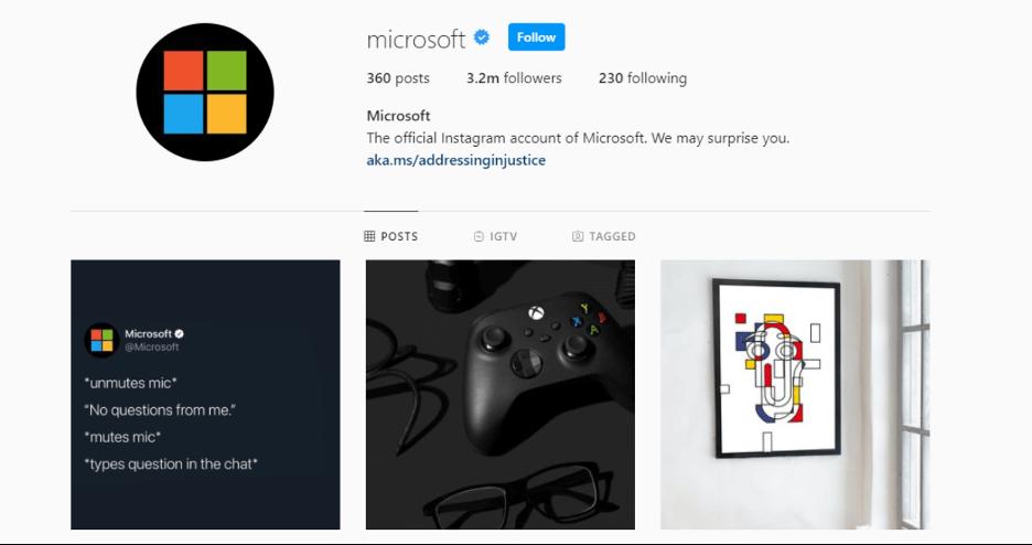 optimize your instagram business profile like microsoft