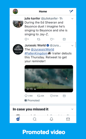 twitter updates - video ad example
