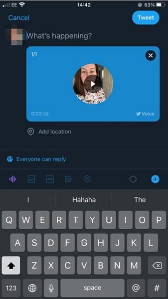 twitter updates - voice tweet example