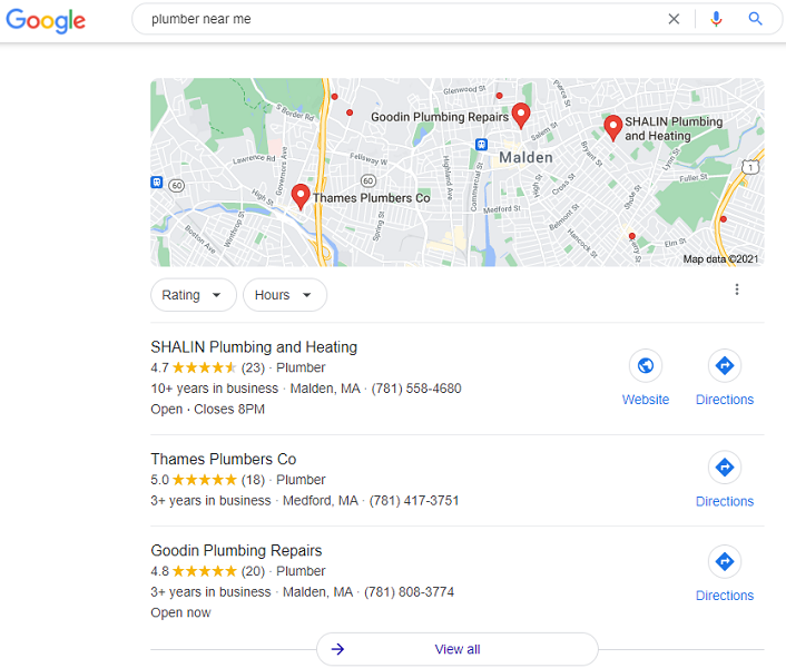 what is google my business - google my business home services example