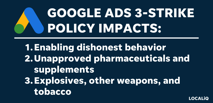 who is impacted by google ads 3-strike policy