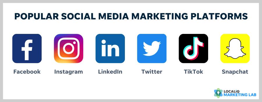 best social media platforms for local marketing - facebook, instagram, linkedin, twitter, tiktok, snapchat