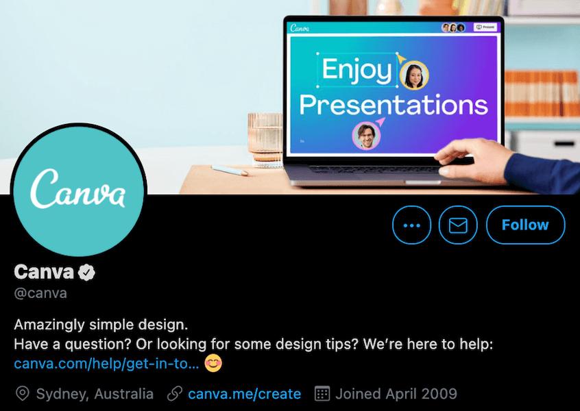 canva twitter business description