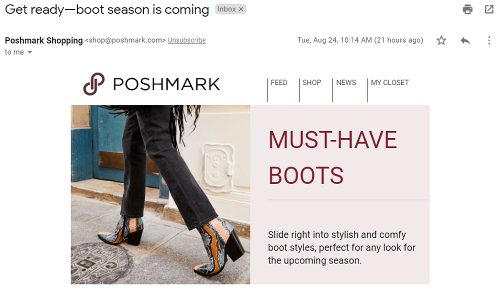email subject line ideas - september email for retail example
