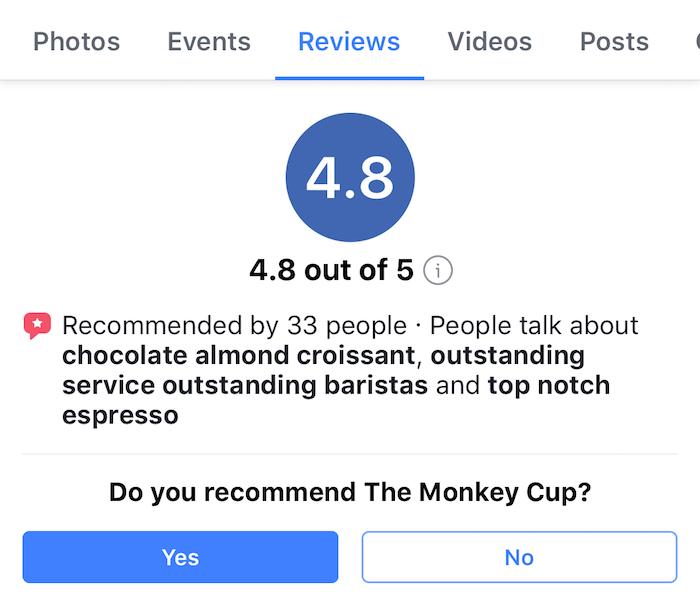 facebook recommendations - example recommendation prompt