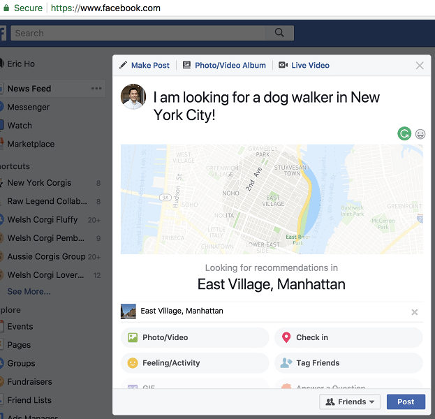 facebook recommendations - example of a facebook user recommendation