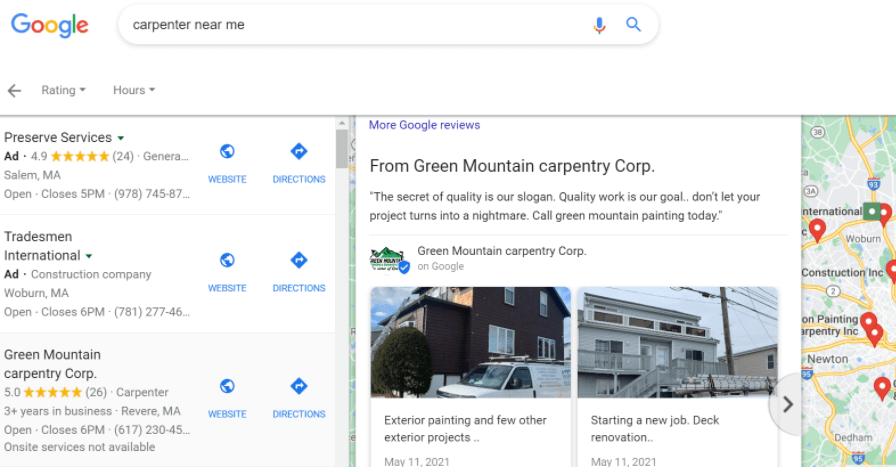 google my business posts - google my business post example