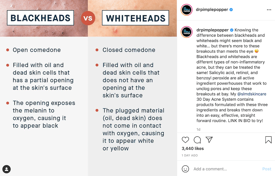 health and wellness instagram captions - dr pimple popper