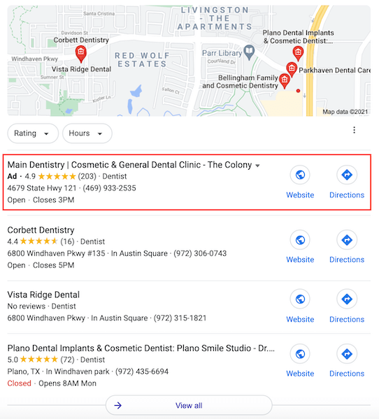 healthcare advertising ppc - location extensions