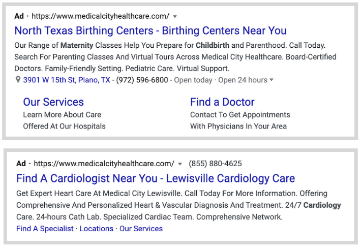 healthcare ppc advertising - run ads for different service lines - example