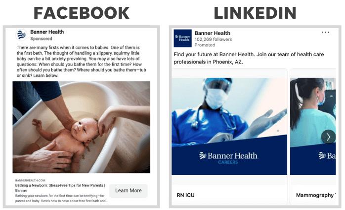 healthcare social ads - facebook vs linkedin