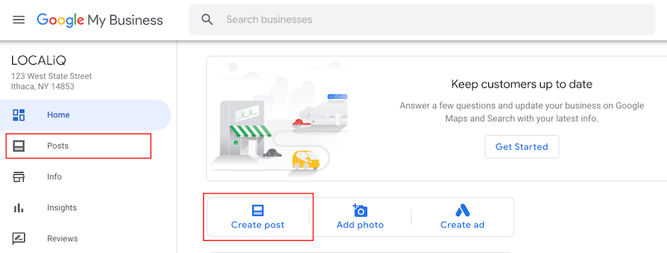 how to create google my business post
