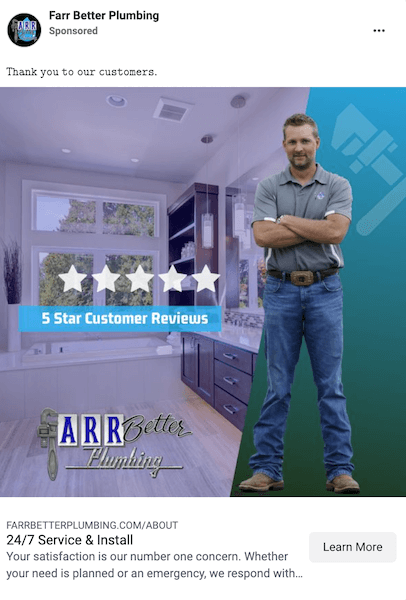 improve home services social ad results - testimonials and reviews in ads