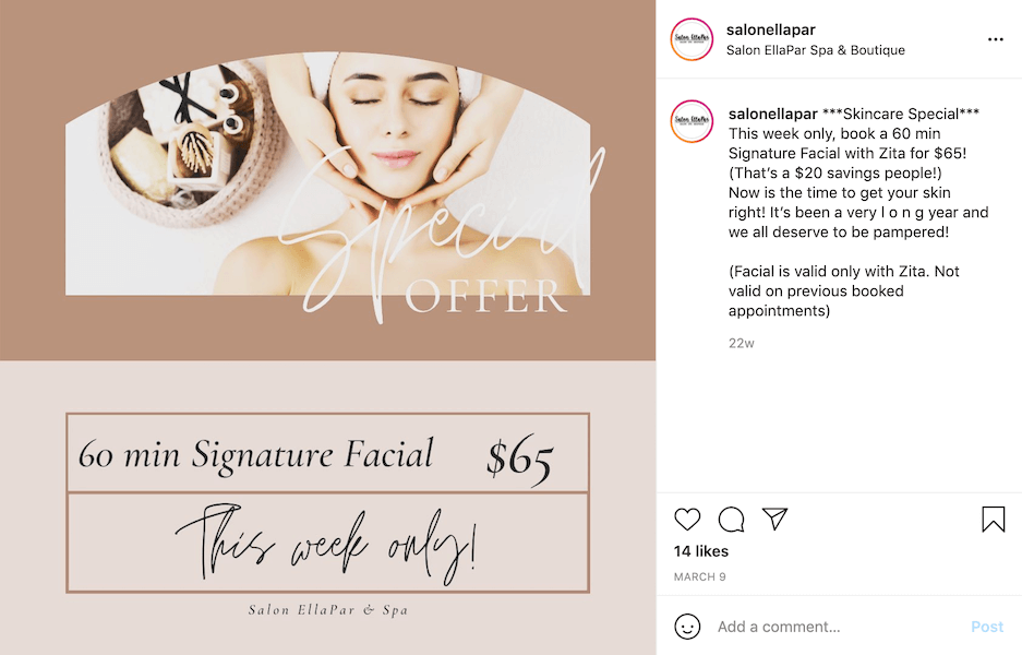 instagram caption examples - spas and salons - promotions