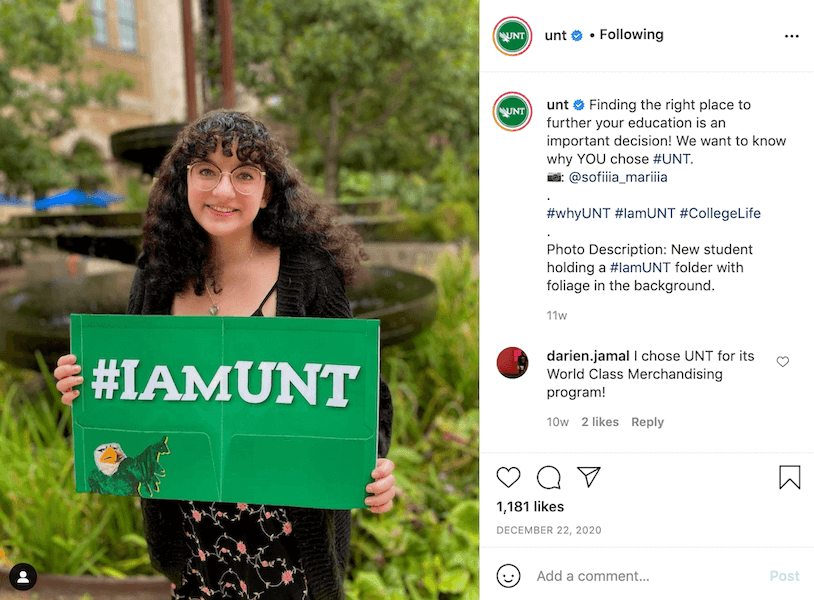 instagram captions for schools - user generated content