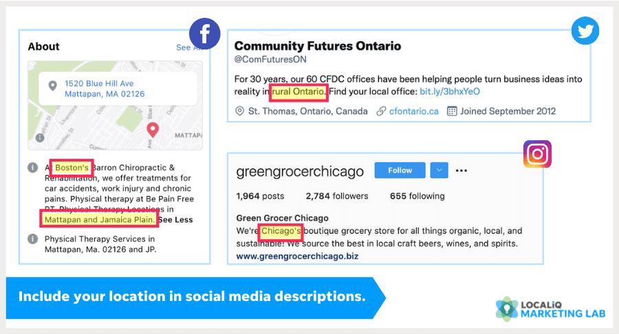 local social media marketing - profile descriptions with location keywords