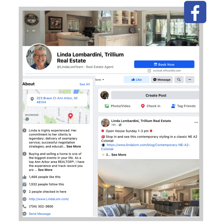 local social media marketing -facebook business page for local real estate agent