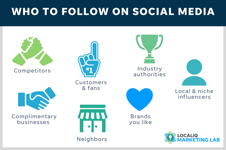 local social media marketing tips and best practices - who to follow on social media