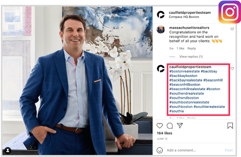 local social media optimizations - location hashtags in instagram post