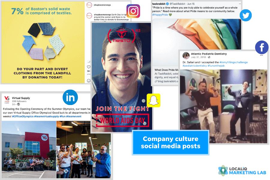 social media post ideas - company culture post examples