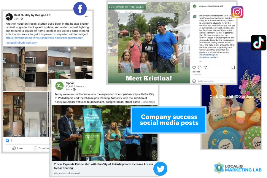 social media post ideas - company success post examples