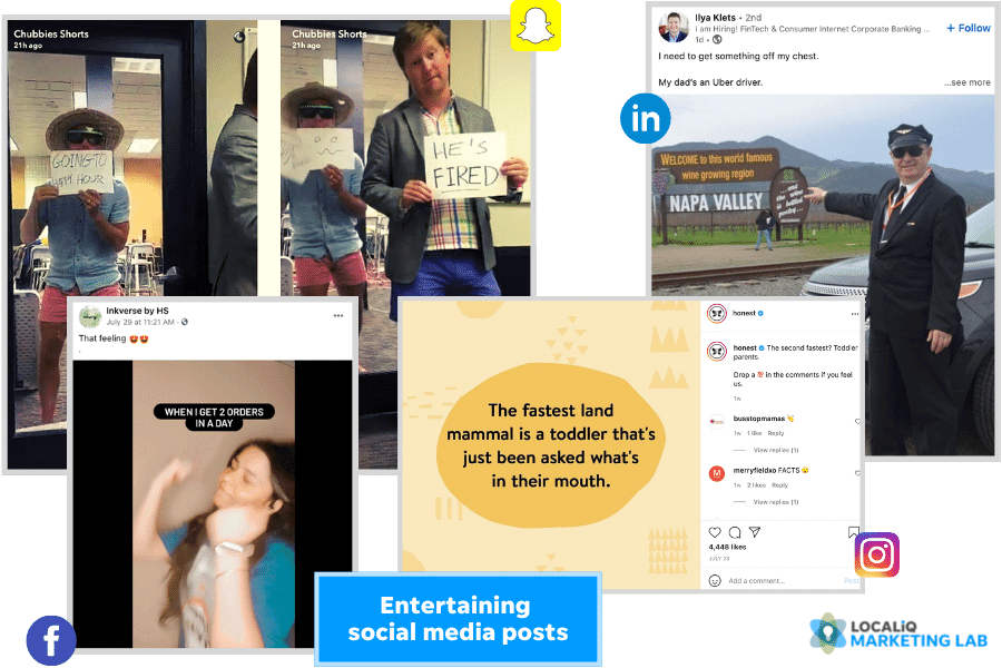 social media post ideas - entertaining post examples