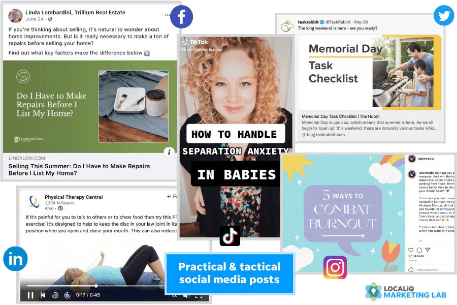 social media post ideas - practical and tactical post examples