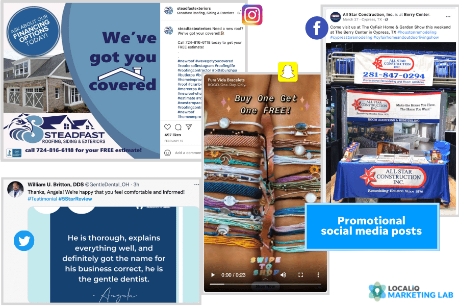 social media post ideas - examples of promotional posts