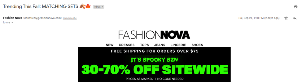 email subject line ideas - ecommerce october email example