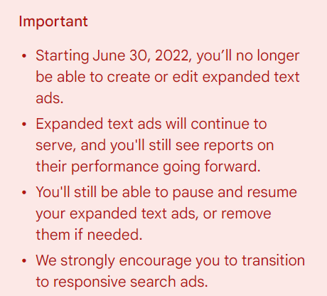 expanded text ads - google announcement