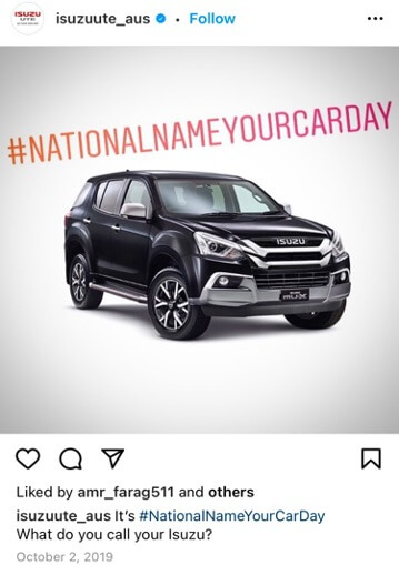 fall promotion ideas - name your car day example