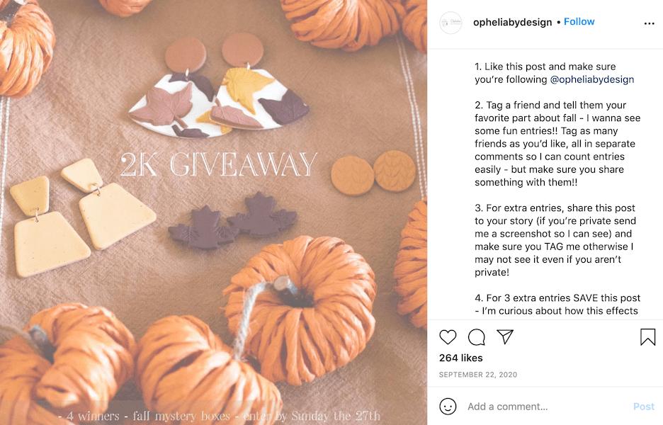 fall social media ideas - run a fall contest on social media
