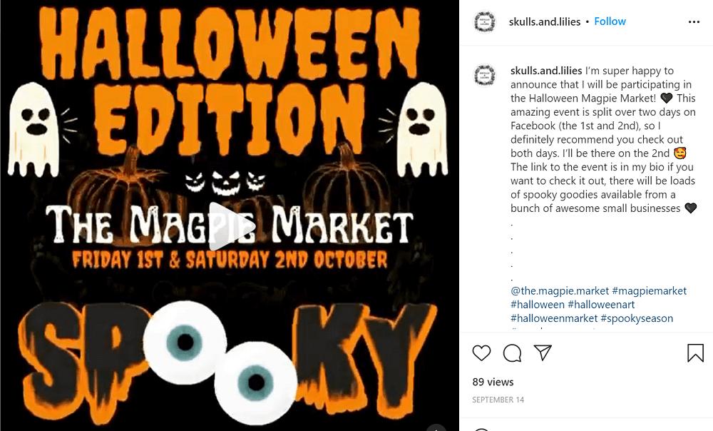 halloween social media ideas - small business halloween video example