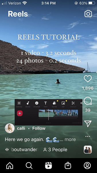 how the instagram feed works - instagram reels example