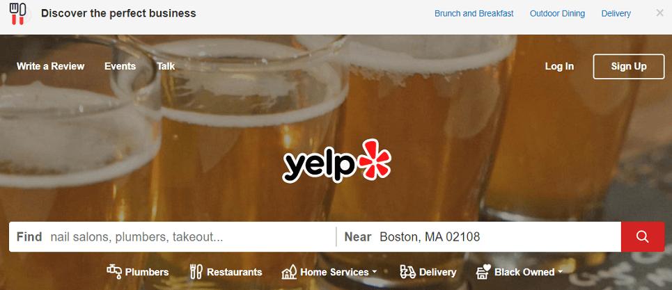 how to claim a business on yelp - yelp homepage