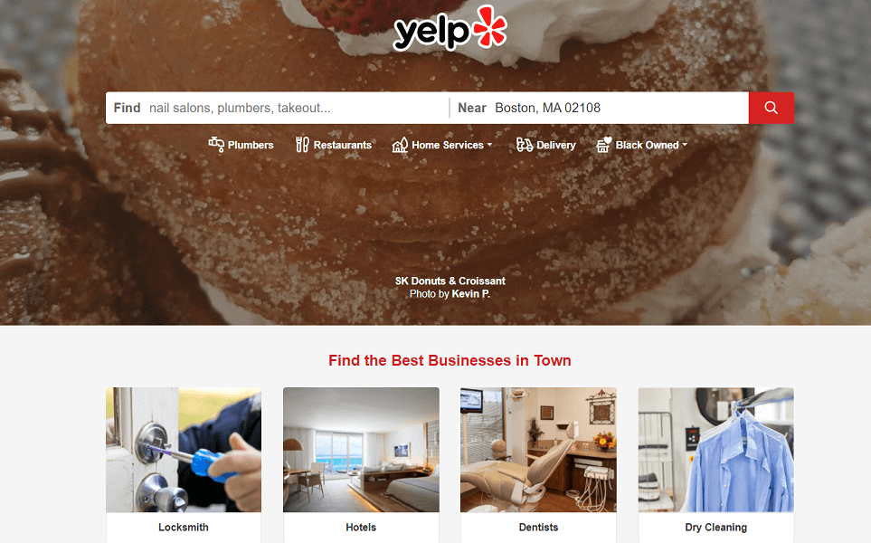how to claim a business on yelp - yelp search homepage with suggestions for user