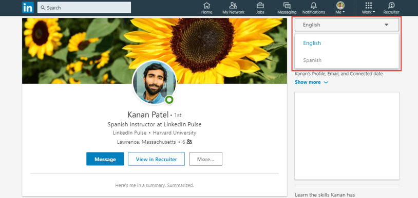linkedin profile tips - create profile in other languages
