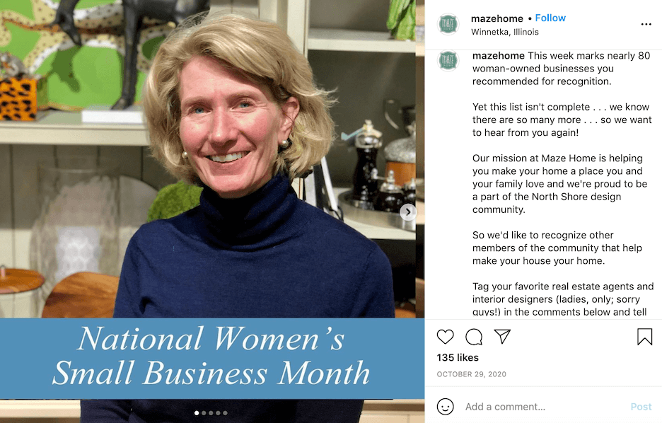 october social media post ideas - womens small business month