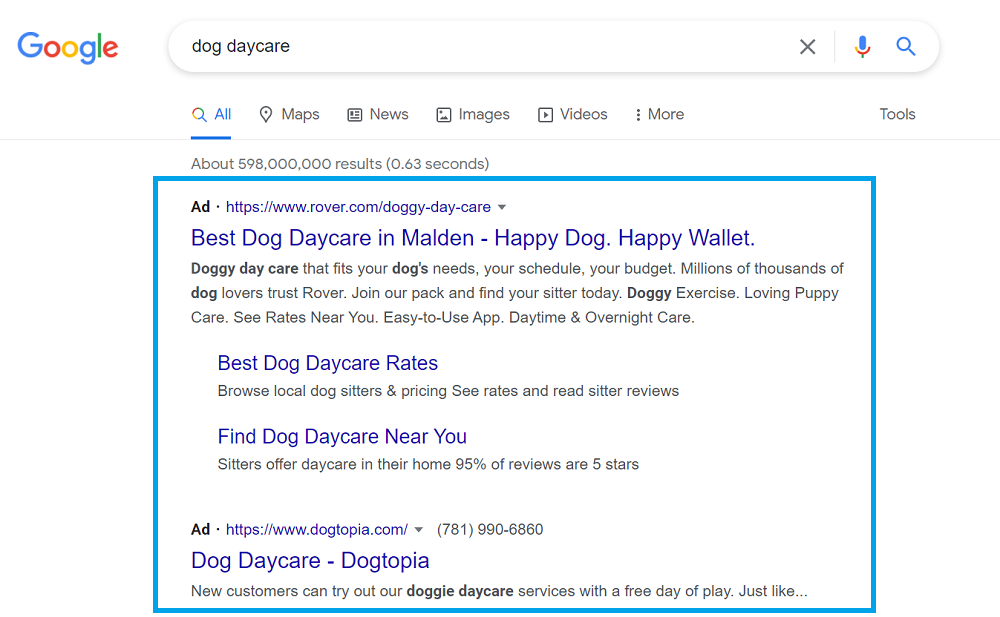 search ad example - how a text ad looks on the serp