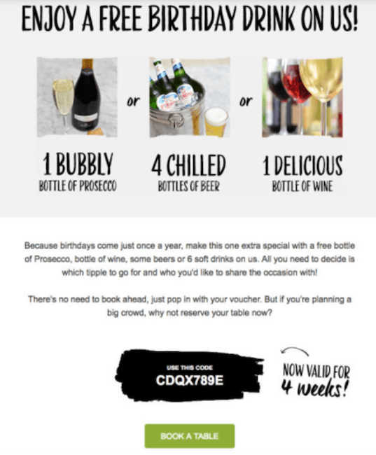 birthday email ideas - free gift example