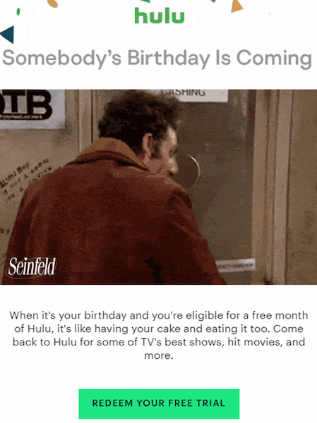 birthday email ideas - gif example with offer