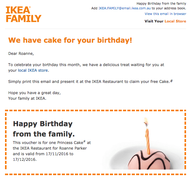 happy birthday email campaign best practices - personalize your email