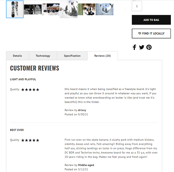 online review statistics - example of ecommerce online reviews