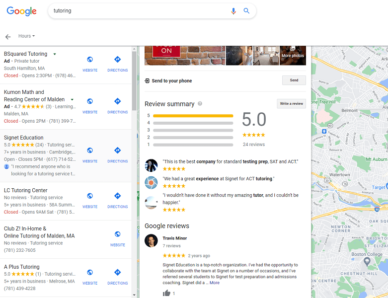 online review statistics - google my business review example