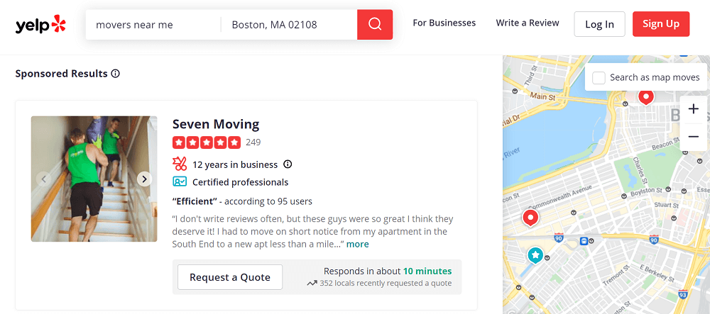 online reviews statistics - yelp review example